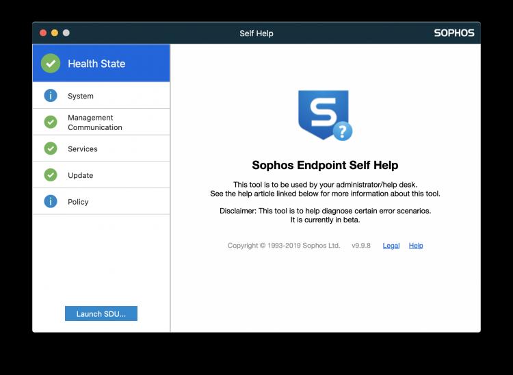 sophos self help tool