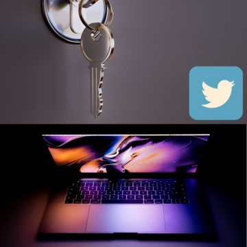 An image depicting the news story headline. The image contains a photo of a Macbook, a key in a lock and the twitter logo.